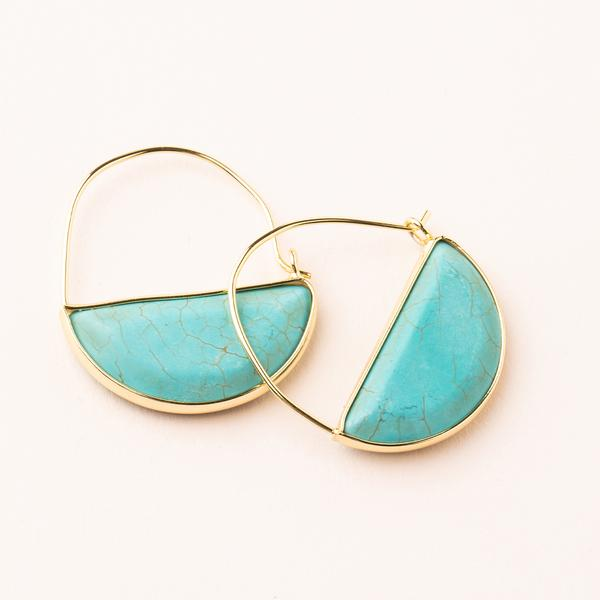 Stone Prism Hoop- Turquoise/ Gold