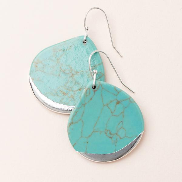 Stone Dipped Teardrop Earring- Turquoise/ Silver