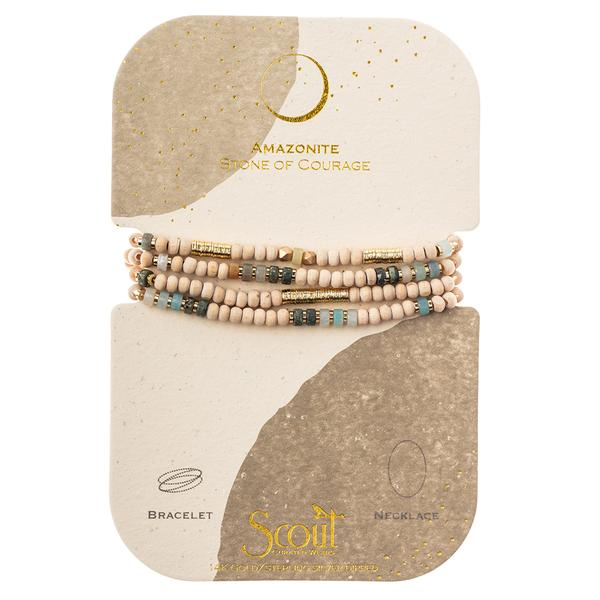Wood, Stone & Metal Wrap - Amazonite/Gold