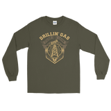 Drillin' Gas, Stackin' Cash - Long Sleeve Oilfield T Shirt Green