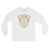 Drillin' Gas, Stackin' Cash - Long Sleeve Oilfield T Shirt White