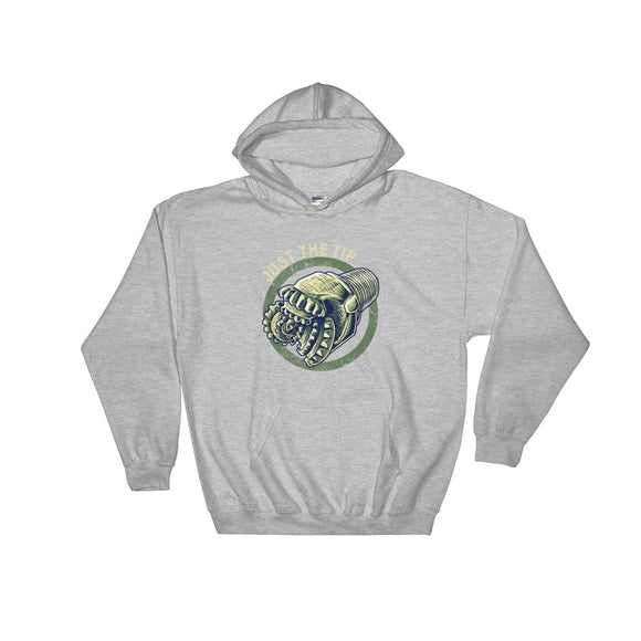 Just the Tip Drill Bit Oil Rig Hoodie Grey