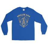 Drillin' Gas, Stackin' Cash - Long Sleeve Oilfield T Shirt Blue