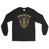 Drillin' Gas, Stackin' Cash - Long Sleeve Oilfield T Shirt Black