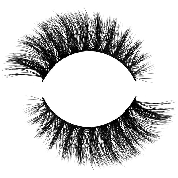 Angel 3D Faux Mink False Eyelash. Crisscrossed for extra volume. Winged out Cat Eye style. Natural, Wispy, Light and Fluffy. 100% Vegan & Cruelty Free Faux Mink Fibres.