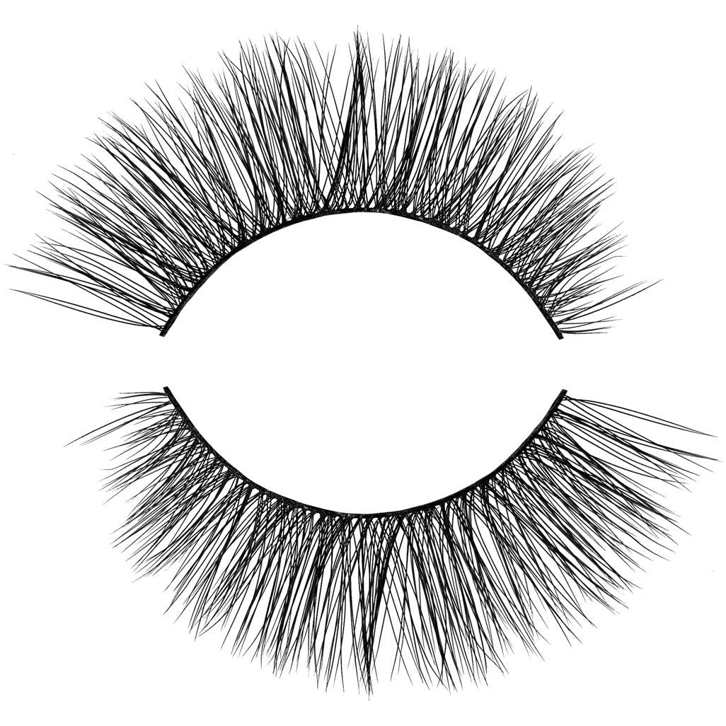 Cutie Pie 3D Faux Mink False Eyelash. Winged out Cat Eye style. Natural, Wispy, Light and Fluffy. 100% Vegan & Cruelty Free Faux Mink Fibers. Great everyday lash.