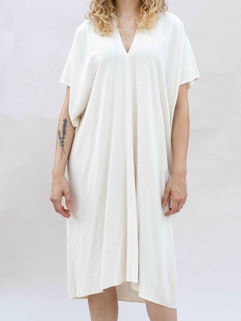 Aveline Midi Dress in Ecru Silk