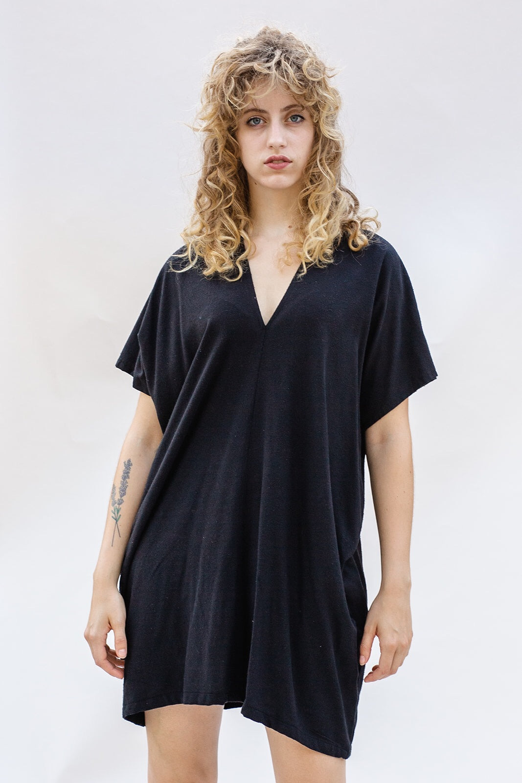 Aveline Mini Dress in Black Silk