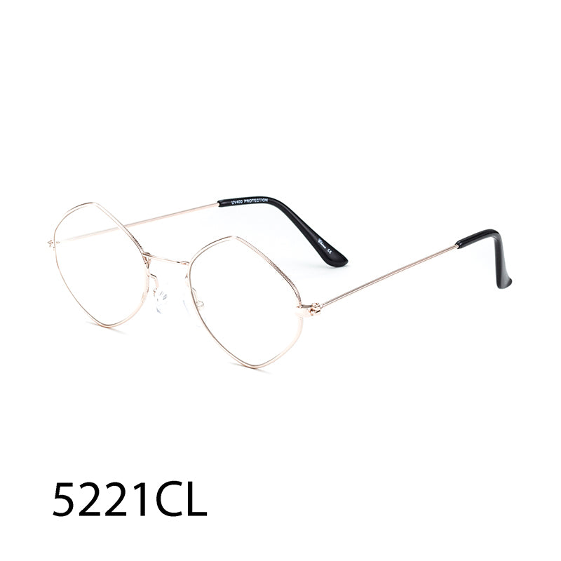 Pack of 12: Wholesale Clear Lens Frames | Angular Round Metal