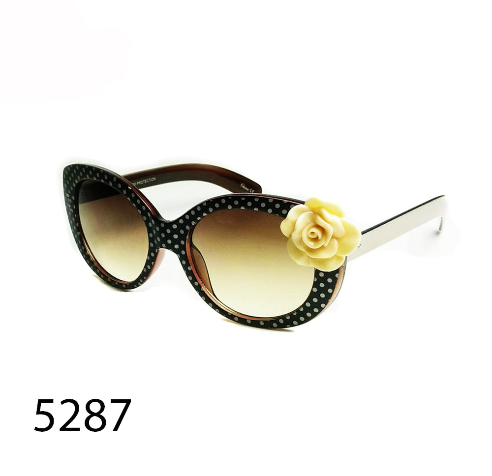 Pack of 12: Polka Dots With Flower Cat Eye Wholesale Sunglasses