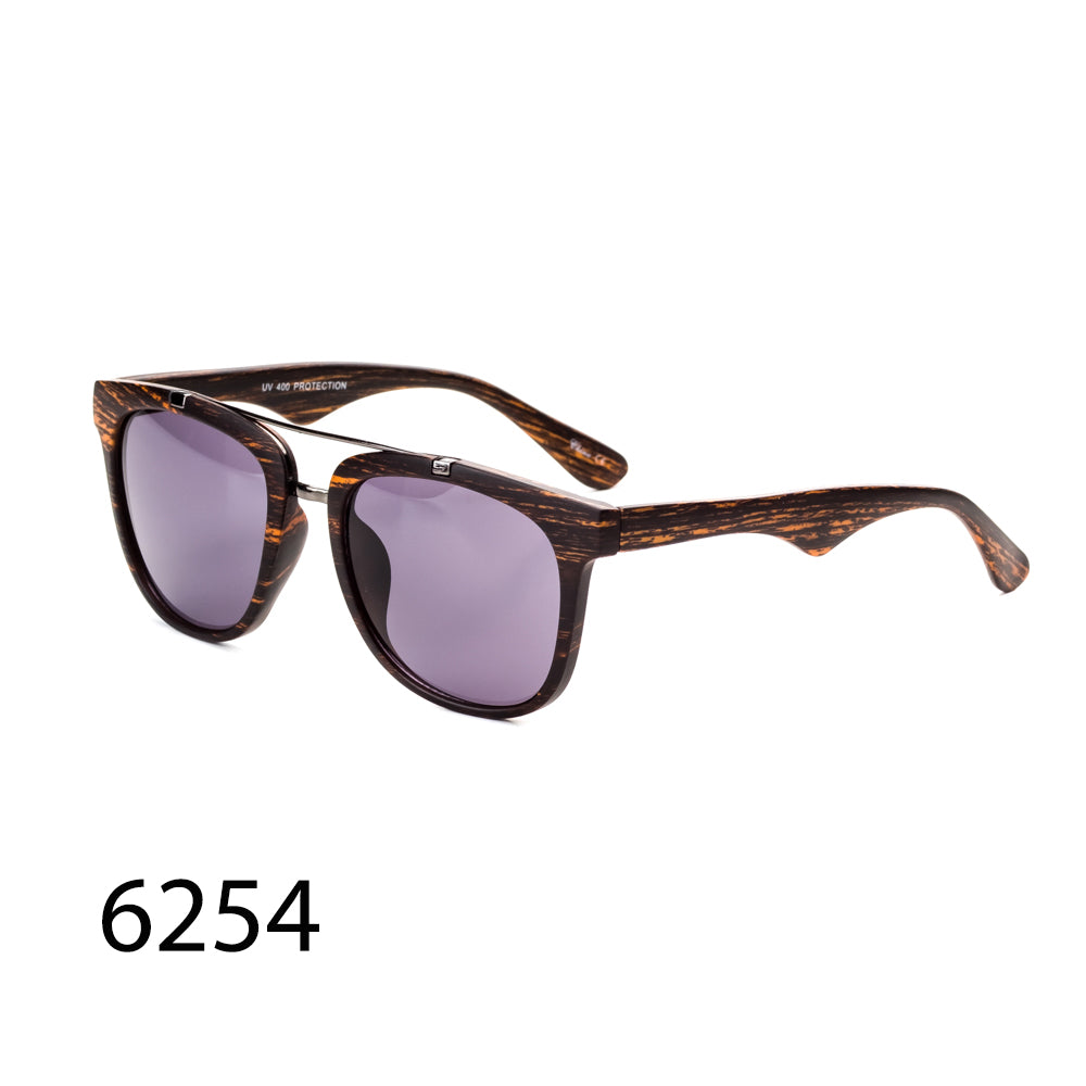 Pack of 12: Bamboo Classic Square Wood Look Wholesale Sunglasses