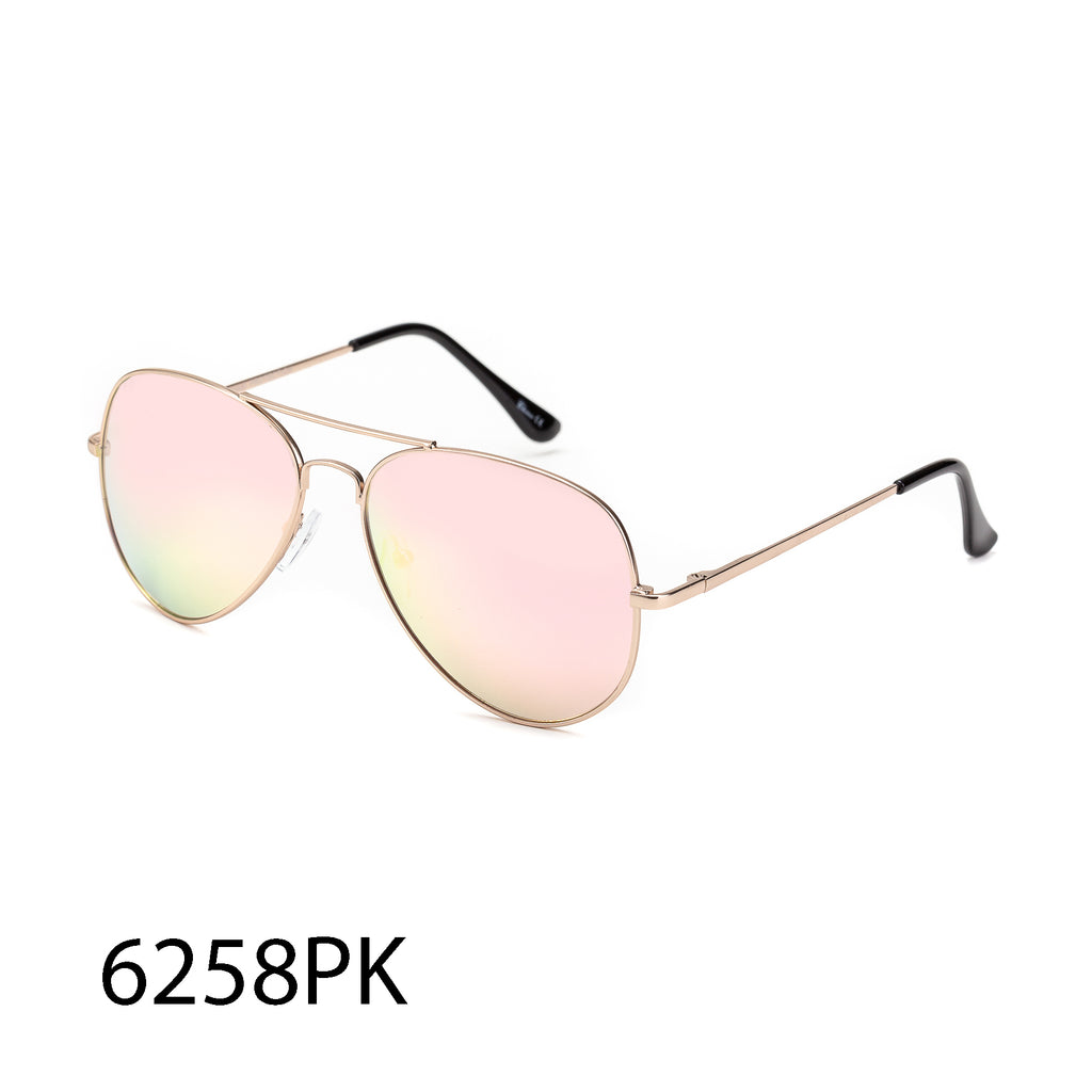 Pack of 12: Pink Aviator Weightless Light Metal Round Ladies Boutique Wholesale Sunglasses