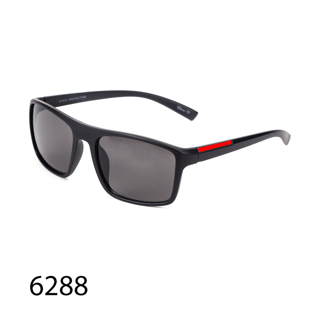 Pack of 12: Formal Casual Men Rectangular Sunglasses Black Sporty Red Stripe Wholesale Sunglasses
