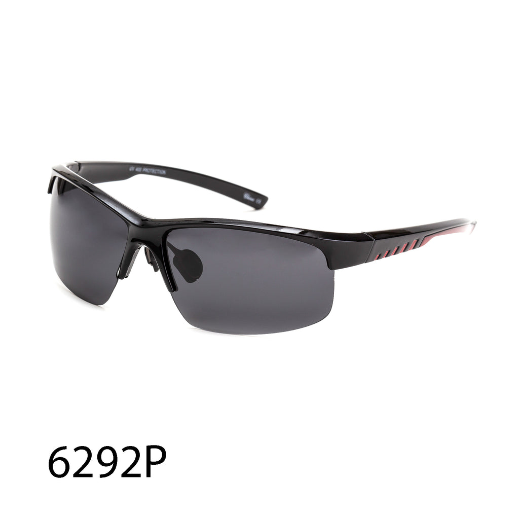 Pack of 12: Polarized Sporty Casual Semi-Rim Rectangular Men Frame Simple Styles Stripe Wholesale Sunglasses