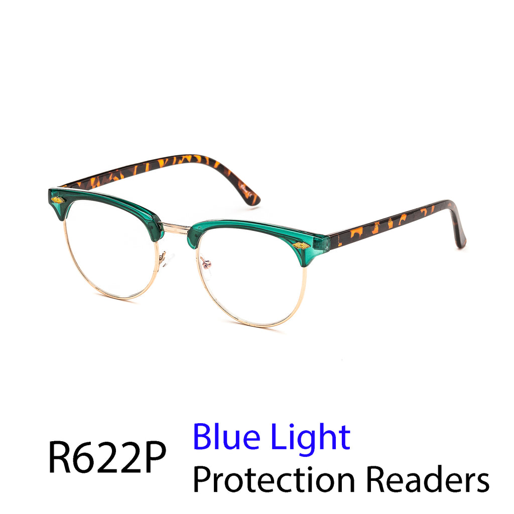 Pack of 12: Universal Vintage Readers With Blue Light Protected Lens Semi Metal Wholesale Computer Readers