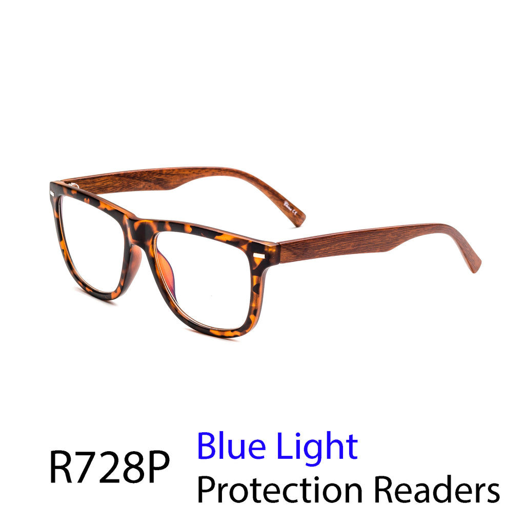 Pack of 12: Forever Style Wooden Temple Retro Square Blue Light Protection Wholesale Computer Readers