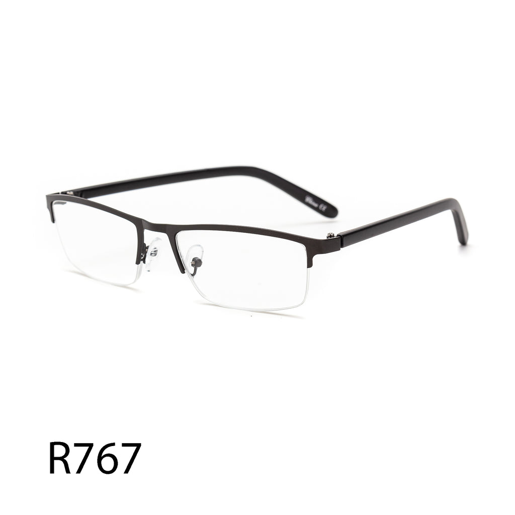 Pack of 12: Weightless Half Rim Metal Gun Metal Clean Technician Men Style Wholesale Reading Glasses