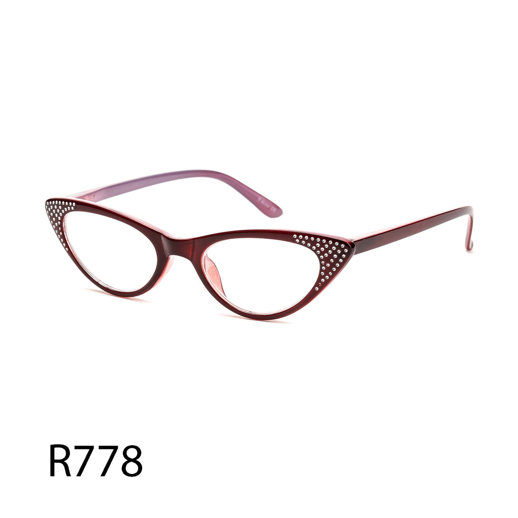 Pack of 12: Sharp Cateye Readers With Shiny Sparkle Dots Burgundy Purple Wholesale Reading Glasses