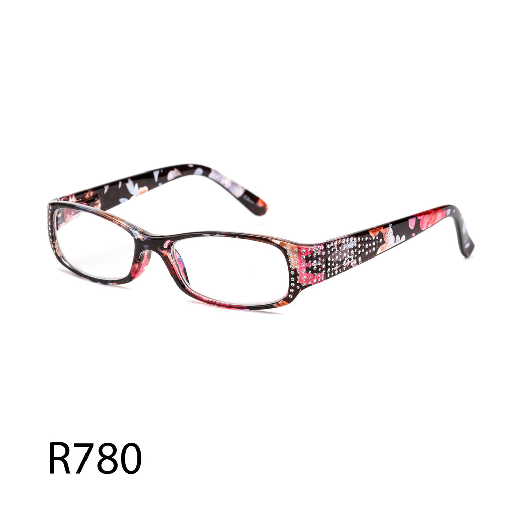 Pack of 12: Floral Readers With Rhinestones Shiny Sparkling Stones Wholesale Reading Glasses