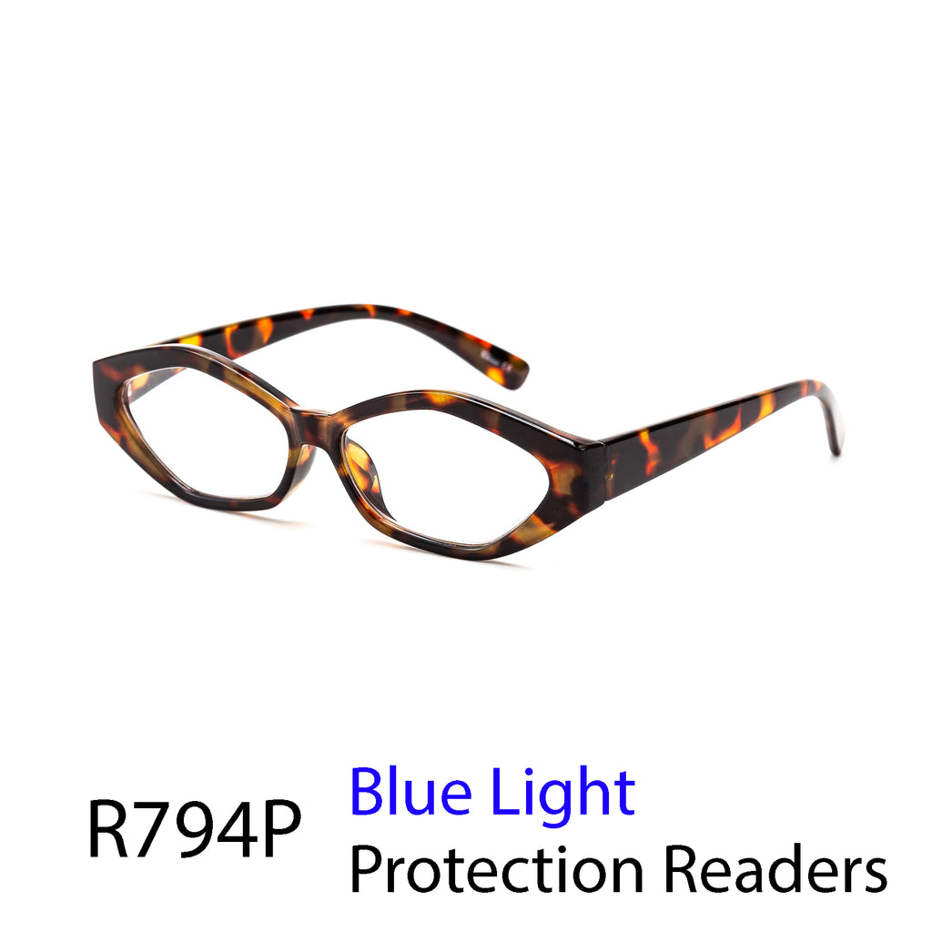 Pack of 12: Bold Unique Shaped Blue-Light Wholesale Reading Glasses