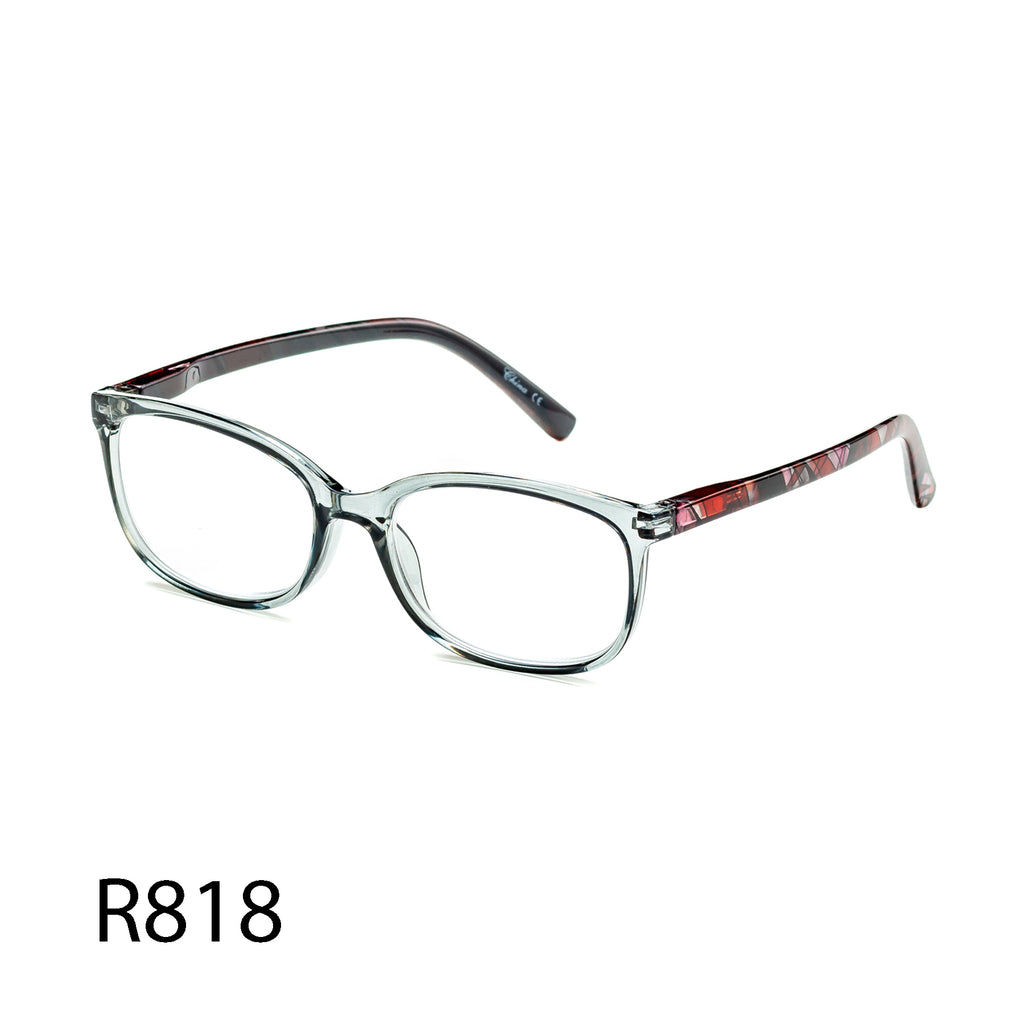 Pack of 12: Transparent Tinted Patterned Arms Geometric Shapes Wholesale Reading Glasses