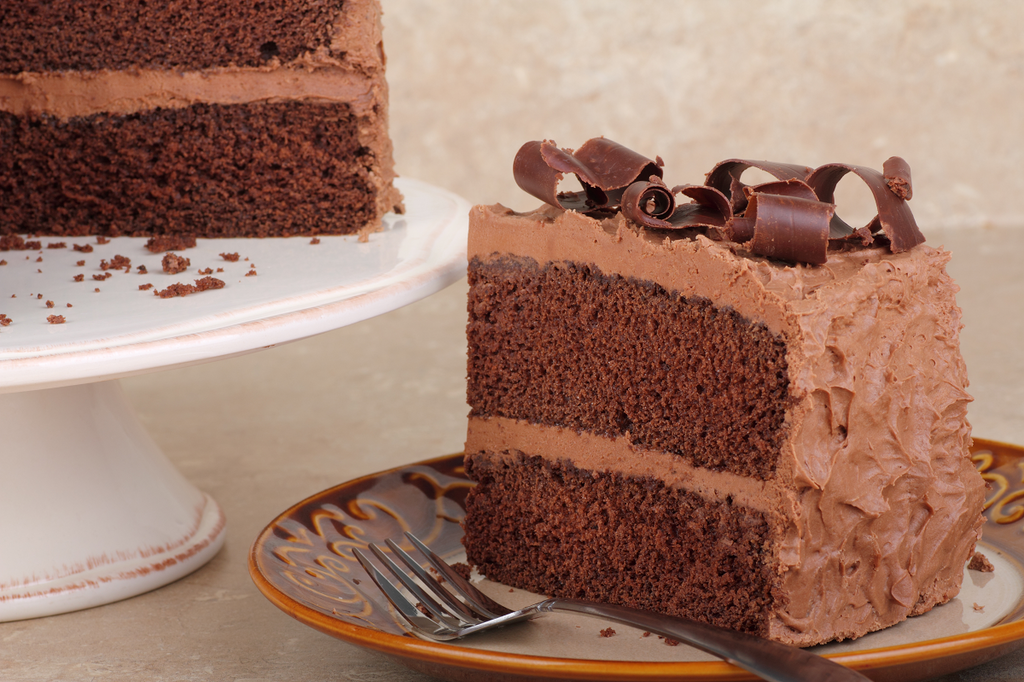 2 layer chocolate cake with chocolate frosting