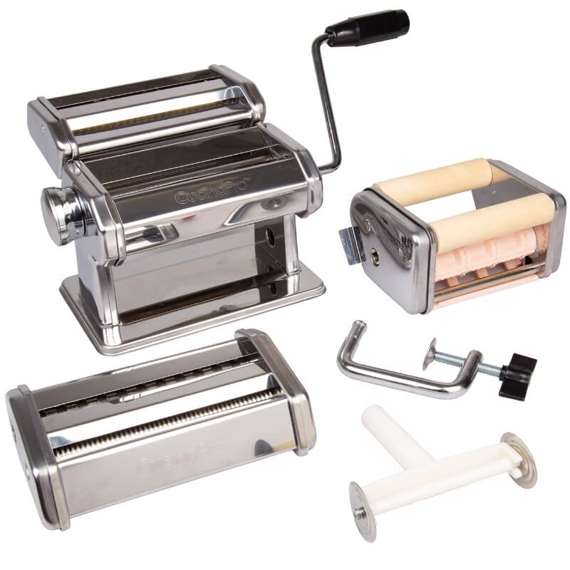 Deluxe Pasta Maker Machine Set with Spaghetti Fettuccini, Angel Hair, Ravioli & Lasagna Attachments