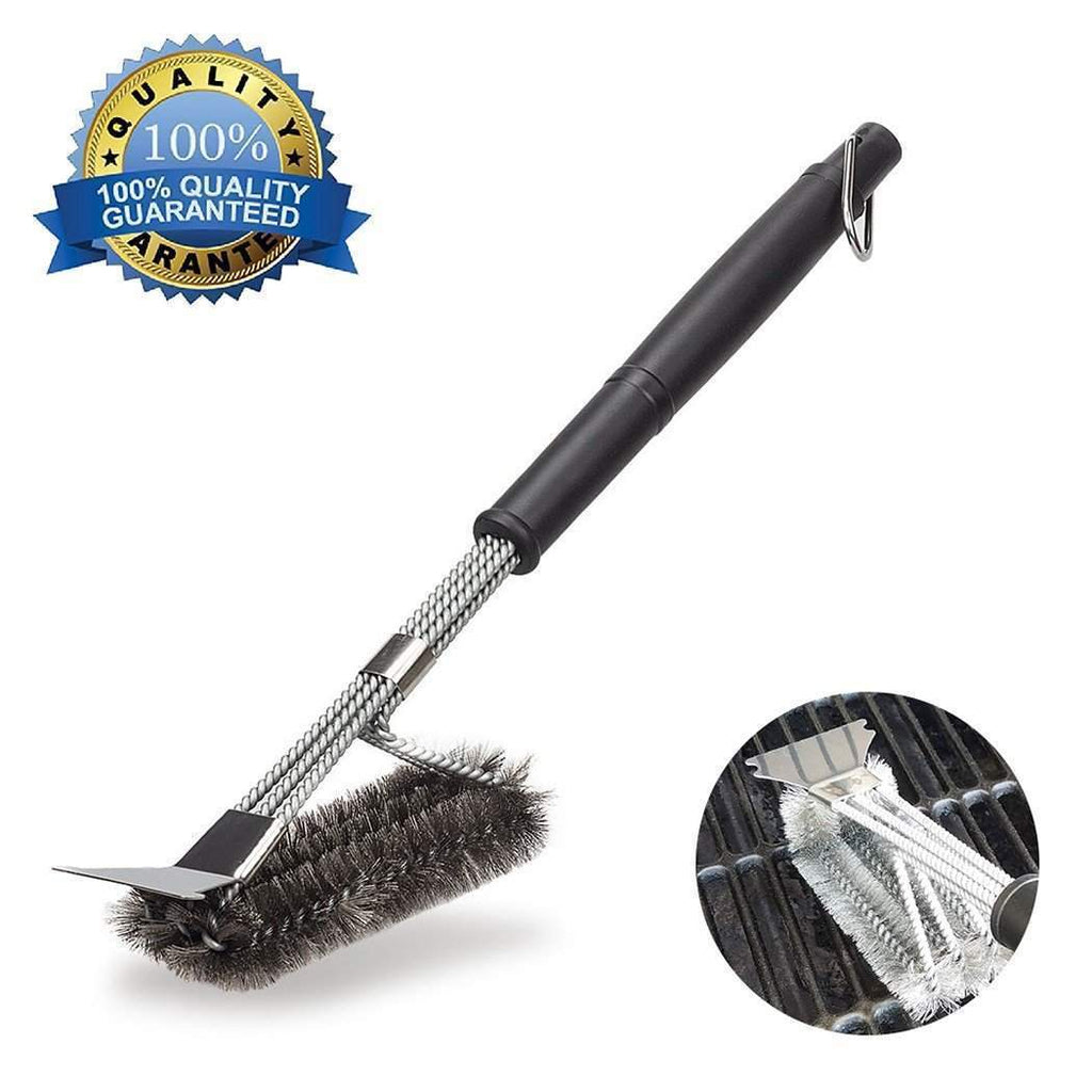 3-in-1 BBQ Grill Cleaning Brush with extra long handle - TOROS - COOKWARE BAKEWARE & GRILL STORE