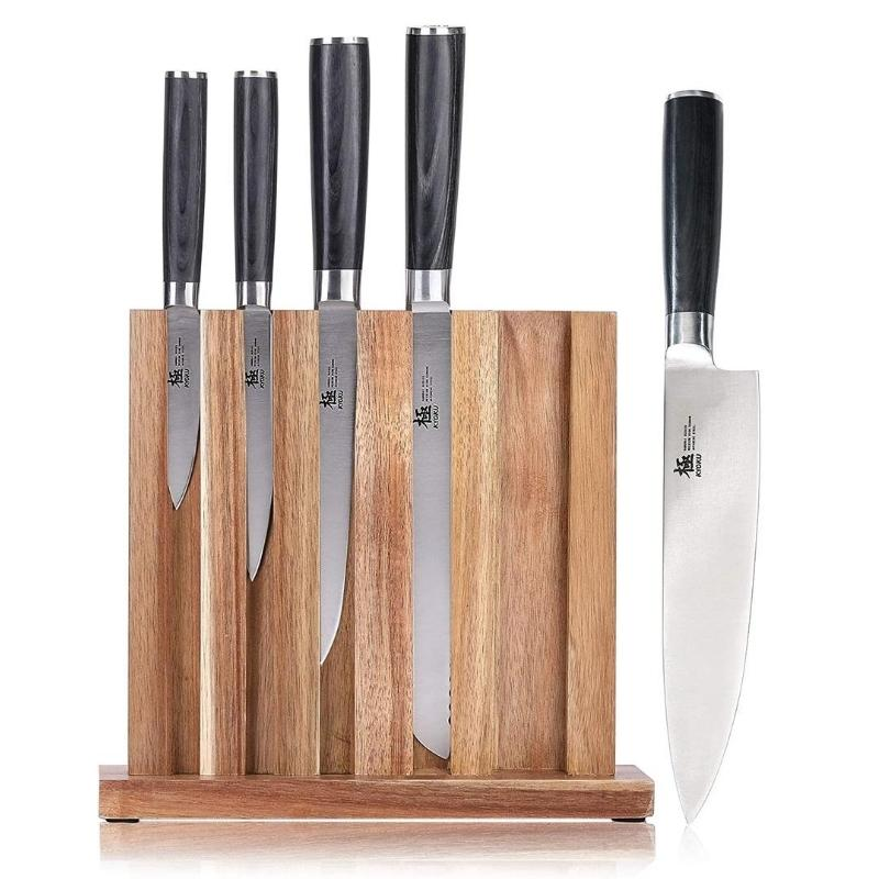 6 Pieces Premium Kitchen Knives Set With Acacia Wooden Knife Block - TOROS - COOKWARE BAKEWARE & GRILL STORE