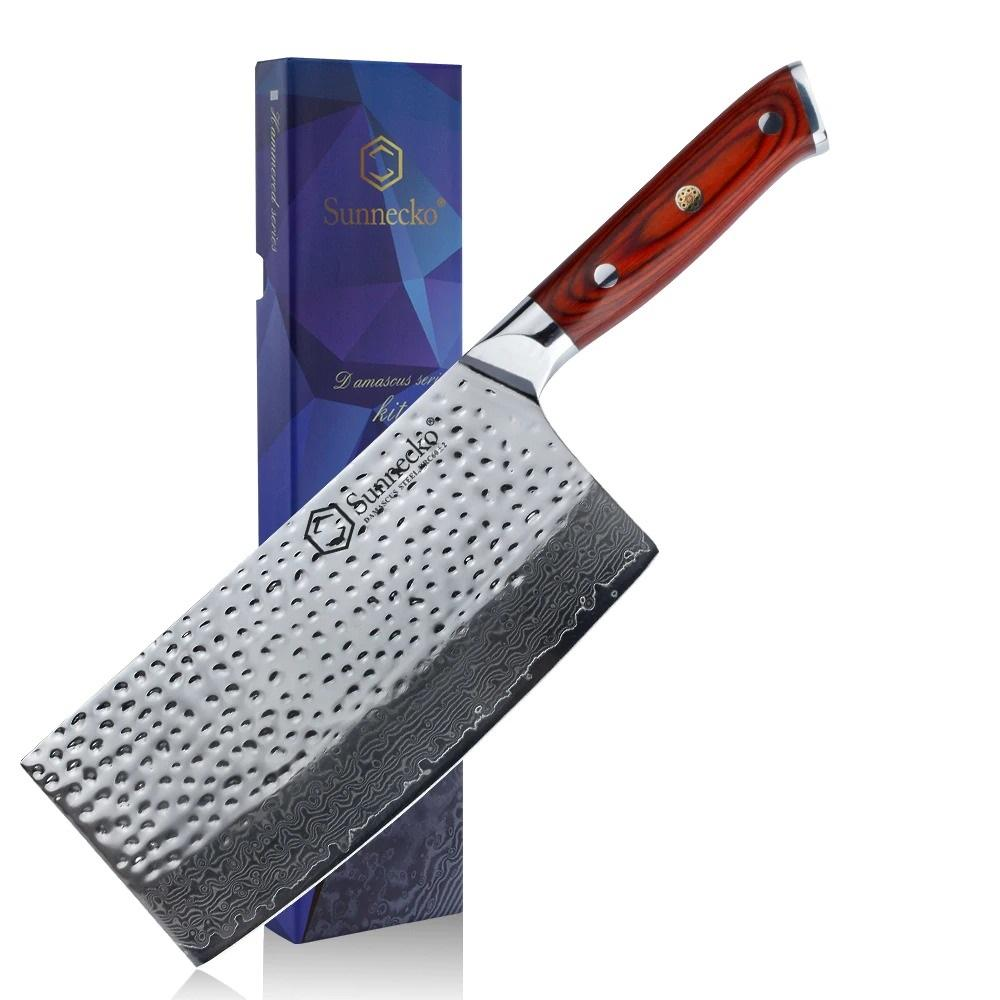 7 inch Hammered Damascus Steel Cleaver knife with wooden Handle - TOROS - COOKWARE BAKEWARE & GRILL STORE