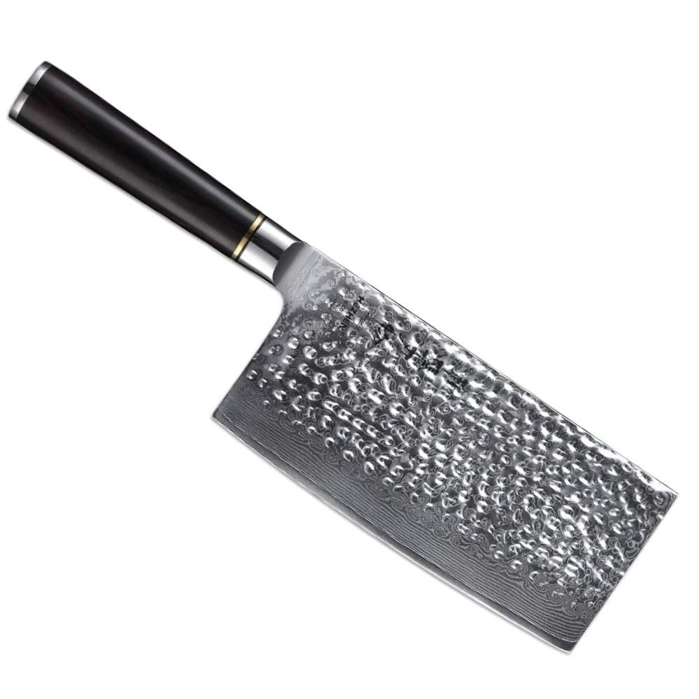 7 inch Professional 67 Layer Hammered Damascus Steel Butcher's Knife - TOROS - COOKWARE BAKEWARE & GRILL STORE