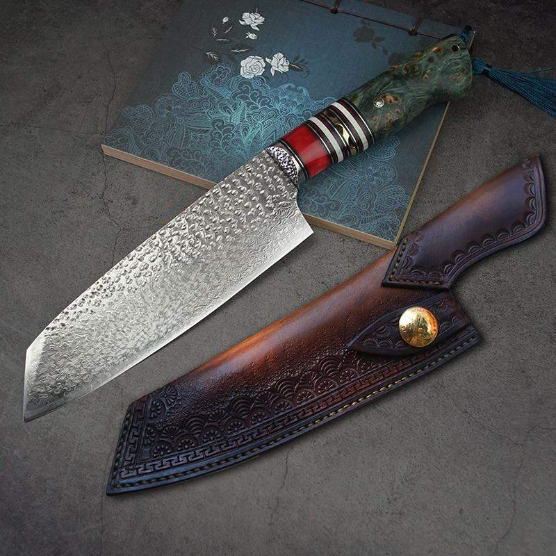"7"" Japanese Tanto Point Damascus VG10 Santoku Chef's Knife Carved Leather Sheath - TOROS - COOKWARE BAKEWARE & GRILL STORE"
