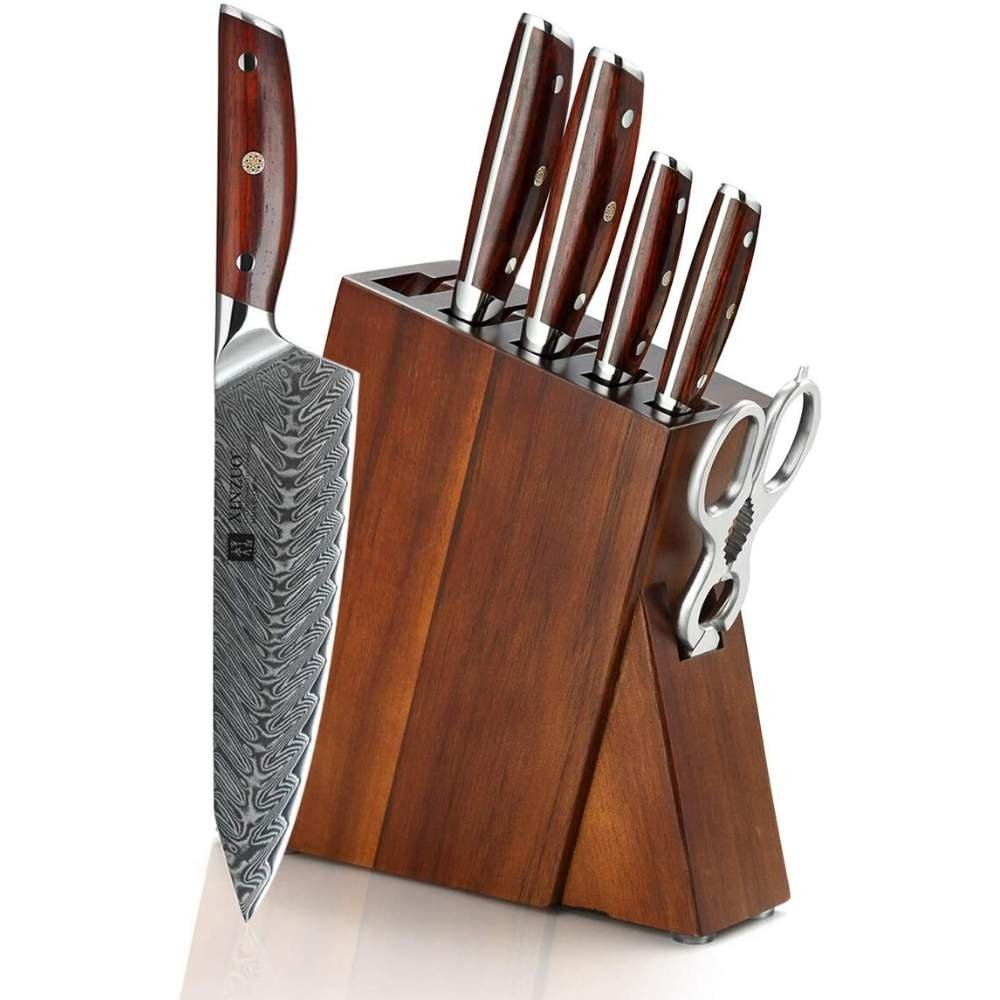 7 Piece Damascus Steel Professional Kitchen Knives Set with Rosewood Handles & Acacia Knife Block - TOROS - COOKWARE BAKEWARE & GRILL STORE