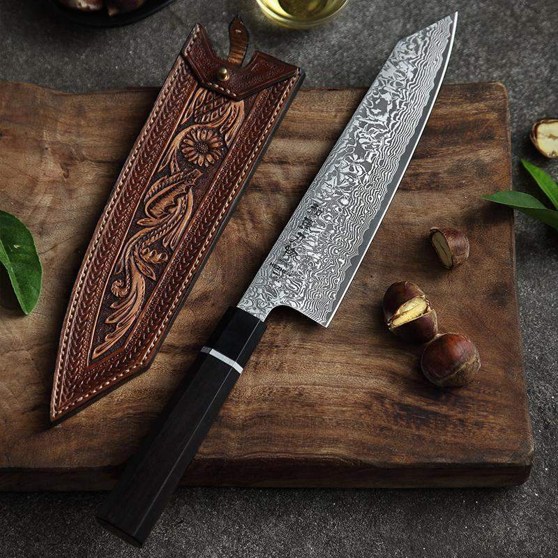 8 inch Japanese High Carbon Damascus Chef Knife With Ebony Wood & Buffalo Horn Handle - TOROS - COOKWARE BAKEWARE & GRILL STORE