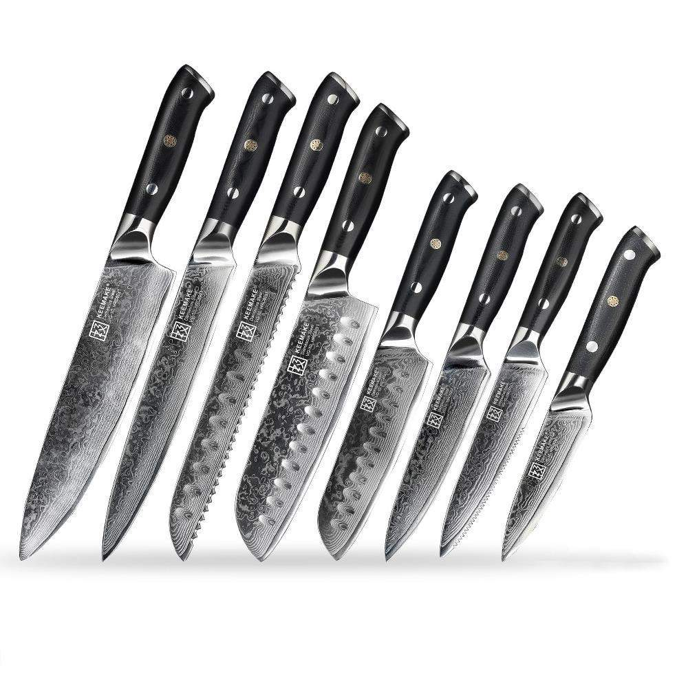 8 Piece Chef's Complete Kitchen Knives Set - 73 Layers Damascus Steel VG10 Core - TOROS - COOKWARE BAKEWARE & GRILL STORE