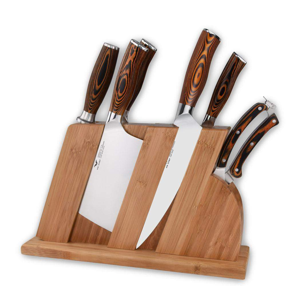 8 Piece Complete Kitchen Knives Set with a Wooden knife Block - TOROS - COOKWARE BAKEWARE & GRILL STORE