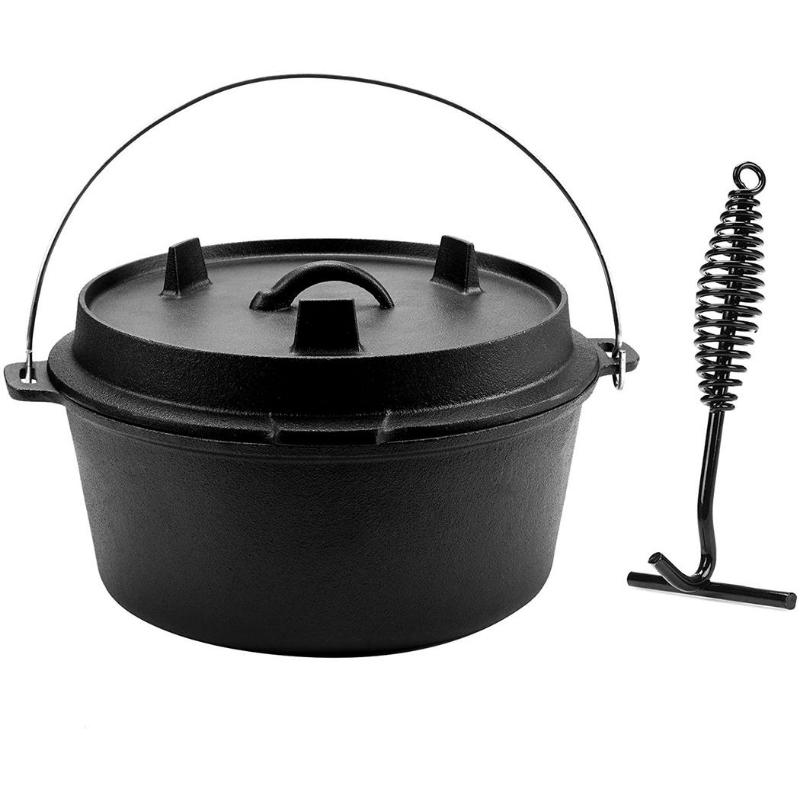 9 Quart Pre-Seasoned Cast Iron Dutch Oven with Lid and Lid Lifter - TOROS - COOKWARE BAKEWARE & GRILL STORE