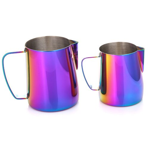 12/20oz Rainbow Multicolor Stainless Steel Coffee Milk Frothing Pitcher