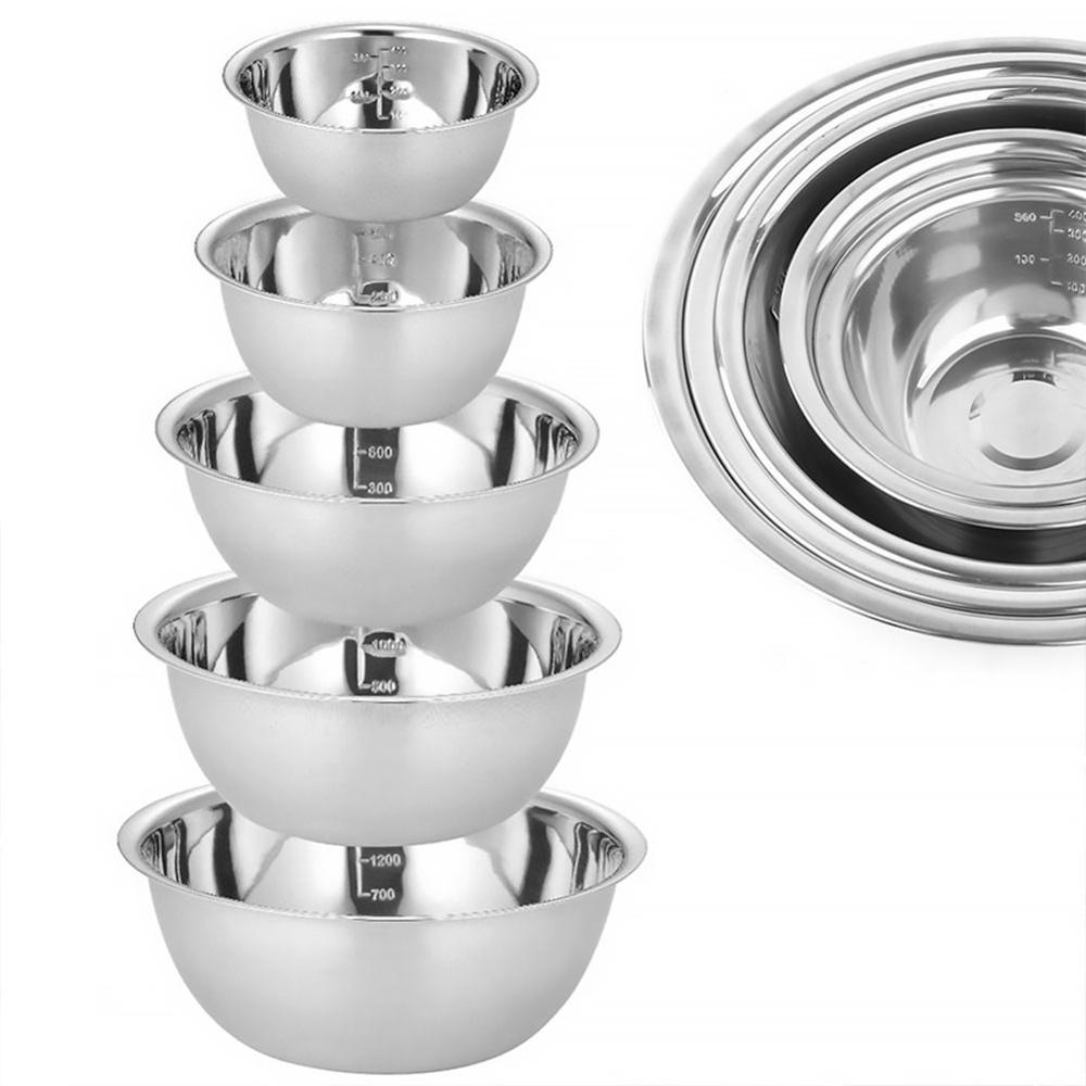 Stainless Steel Prep (5) Bowls-Household Kitchen-Outdoor Kitchen-Camping Bowls-(Set Of 5)