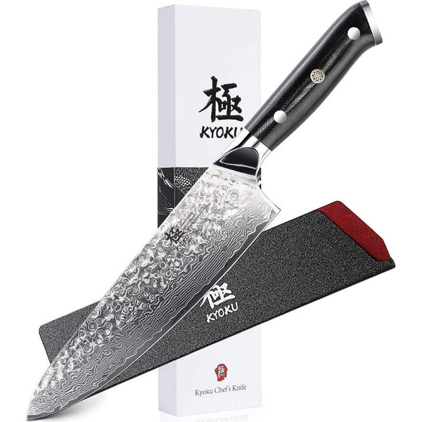 Professional 8 inch Hammered Damascus VG10 Steel Chef Knife - with Sheath & Case - TOROS - COOKWARE BAKEWARE & GRILL STORE