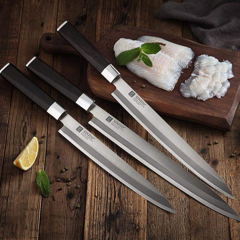 Right Handed Yanagiba Sushi High Carbon Steel Filleting Knife with Wooden Scabbard - TOROS - COOKWARE BAKEWARE & GRILL STORE