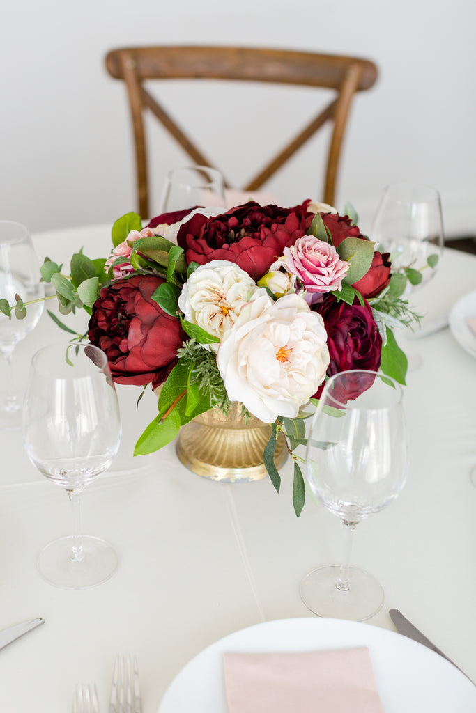 Tuscany Collection - Table Centerpiece - With DEEP Burgundy Blooms and Pink