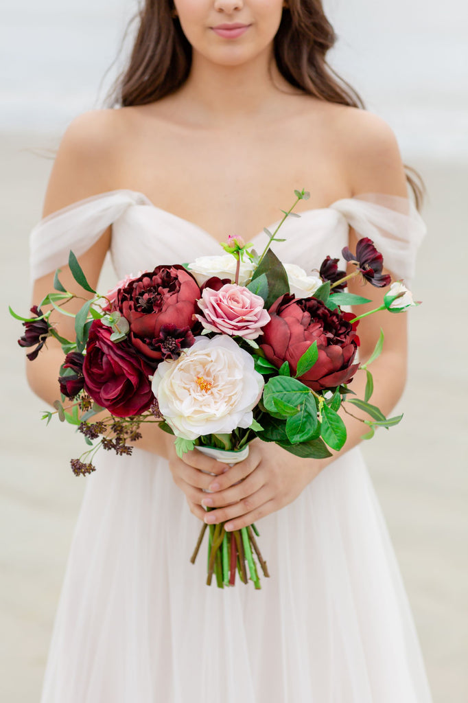 Tuscany Collection - Bride Bouquet - With DEEP Burgundy Blooms and Pink