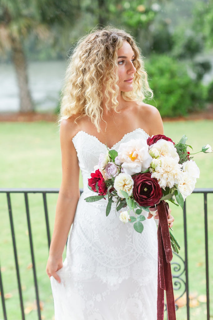 Tuscany Collection - Bride Bouquet - With Burgundy Blooms