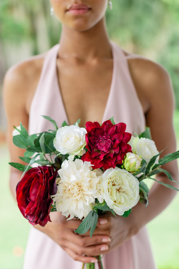 Tuscany Collection - Bridesmaid Bouquet - With Burgundy Blooms