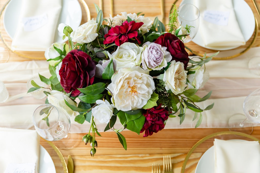 Tuscany Collection - Table Centerpiece - With Burgundy Blooms