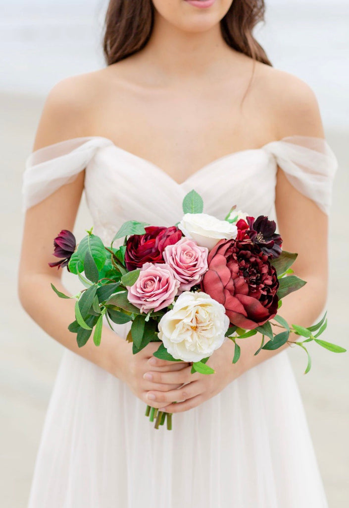 Tuscany Collection - Bridesmaid Bouquet with Deep Burgundy Blooms and Pink (SAMPLE)