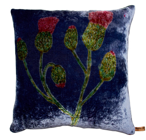 Blue Velvet Cirsium Cushion