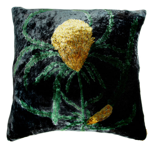 Deep Petrol Velvet Banksia Cushion