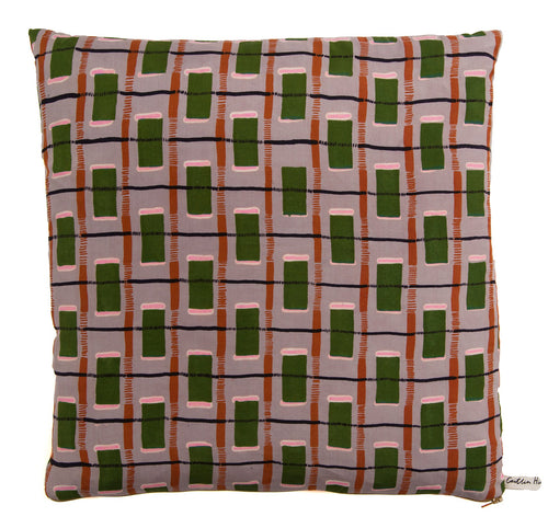 Green Checked Silk Cushion